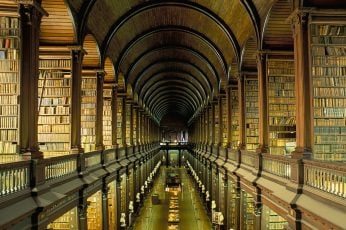 Assorted book lot, books, library, architecture, shelves, Ireland wallpaper