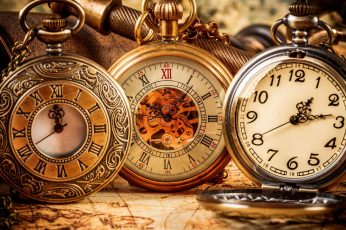 three silver-colored and gold-colored pocket watches, clocks wallpaper