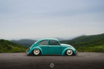 Green Volkswagen Beetle coupe under gray sky, Southern, Worthersee wallpaper