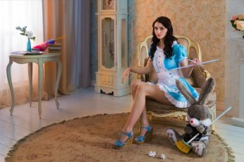 Women's blue and white maid costume, model, brunette, long hair wallpaper