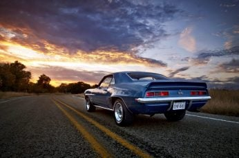 Chevrolet, camaro, ss, evening, asphalt, road, oldtimer, vintage wallpaper