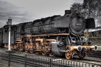 Vintage black and brown train, train station, railway, HDR, steam locomotive wallpaper