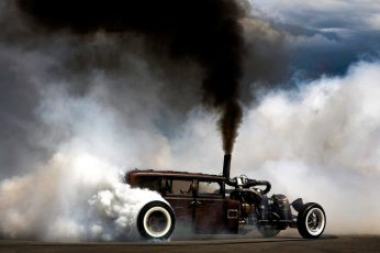 Vintage black coupe, smoke, car, Burnout, Hot Rod, Rat Rod, smoke – physical structure wallpaper