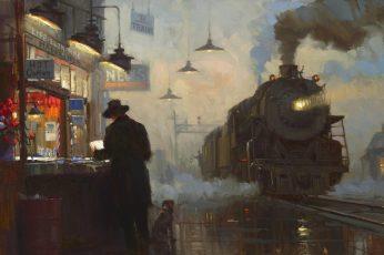 Vintage wallpaper black train wallpaper, railway, train station, painting