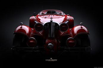 Red Danelsmon car, supercars, digital art, Marvel Comics, vintage wallpaper