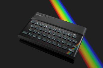 black wireless compact keyboard, Zx Spectrum , computer, vintage wallpaper