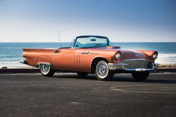 Vintage wallpaper orange convertible car, vehicle, 1957 Ford Thunderbird Special