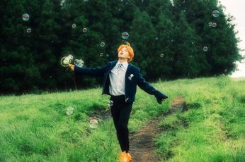 Bts wallpaper, jimin, soap bubbles, field, grass, Men, plant, one person