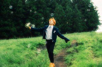 Bts wallpaper, jimin, soap bubbles, field, grass, Men, plant, one person