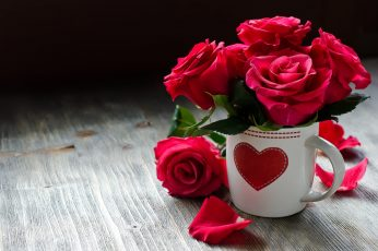 Roses, flowers, heart, red rose with white ceramic coffee cup wallpaper