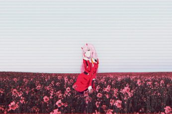 Wallpaper Anime girls, glitch art, flower, Darling in the FranXX, Zero Two (Darling in the FranXX)