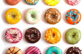 Assorted-flavor doughnuts, donut, food, sprinkles, sweet, food and drink wallpaper