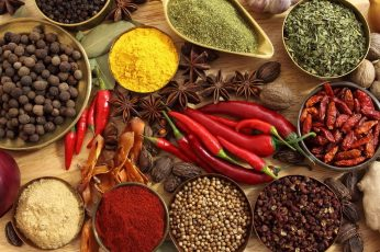 Assorted spice lot, food, chilli peppers, spices, star anise wallpaper