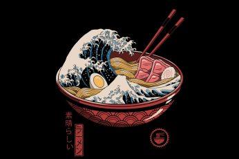 Ramen, waves, chopstick, chopsticks, eggs, Japanese, food, The Great Wave off Kanagawa wallpaper