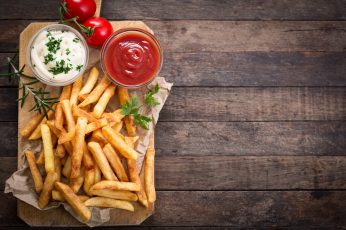Fries, tomatoes, food wallpaper