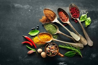 Wallpaper wariety of spices, Pepper, food, spoons, leaves, food and drink