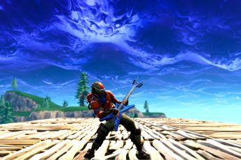 Fortnite wallpaper game screenshot, guitar, one person, wood – material
