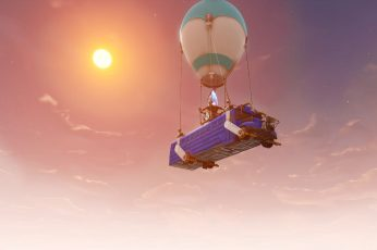 Fortnite wallpaper, sky, mid-air, nature, transportation, balloon, cloud – sky