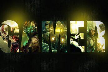 Gamer illustration, Gamer logo, video games, God of War, Dead Space