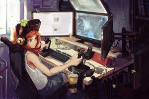 Anime girl computer gamer, girl wearing white tank top illustration