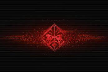 HP Omen logo, red icon, Hewlett Packard, black, video games, laptop