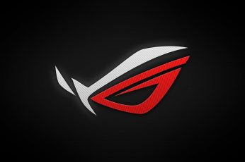 Asus ROG logo, Republic of Gamers, black background, illuminated