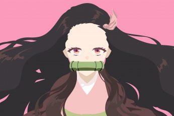 Kimetsu no Yaiba wallpaper, Kamado Nezuko, anime girls, minimalism
