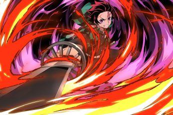 Kimetsu no Yaiba wallpaper, Anime, Demon Slayer, Boy, Katana, Red Hair