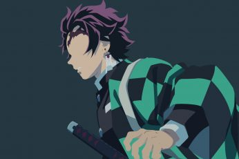 Kimetsu no Yaiba wallpaper, Anime, Demon Slayer, Boy, Earrings, Minimalist