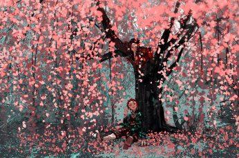 Kimetsu no Yaiba wallpaper, anime, artwork, sakura (tree), Tanjiro Kamado