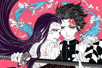 Kimetsu no Yaiba wallpaper, anime, Kamado Nezuko, Kamado Tanjirō