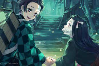 Kimetsu no Yaiba wallpaper, anime, Kamado Tanjirō, Kamado Nezuko, demon girl