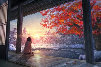 Anime wallpaper, anime girls, artwork, tree, one person, rear view, nature