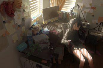 Wallpaper Anime girls, Anime: Gamers!, room, interior, sitting, desk