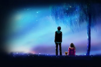 Meteor, anime, anime boy, anime girl, love, night, friends wallpaper
