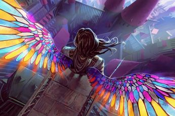 Girl with multicolored wing illustration, fantasy art, artwork wallpaper