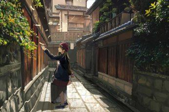 Girl holding luggage raising her left-hand anime digital wallpaper