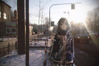 Gray-haired female anime character illustration, anime girls wallpaper