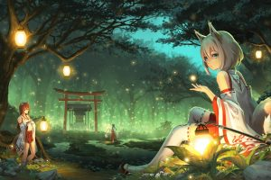 Futuristic girl sitting on grass field, anime, anime girls, animal ears wallpaper