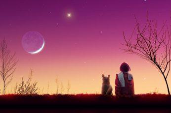 Wallpaper girl sitting beside dog digital wallpaper, kagaya moon, anime