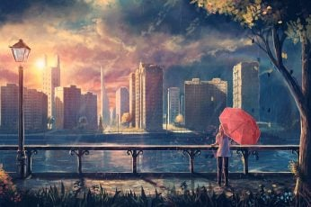 Woman holding umbrella looking building painting, woman using pink umbrella watching the body of water and buildings