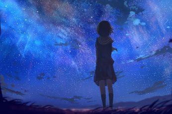 Wallpaper female character anime, anime girls, original characters, short hair