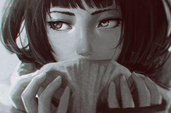 Wallpaper anime, anime girls, GUWEIZ, artwork, portrait, looking at camera