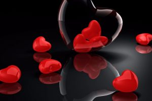 Red hearts, love, 3d wallpaper