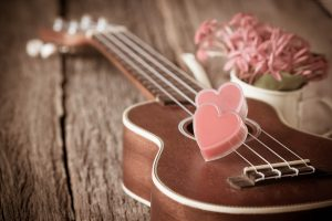 Romantic, flowers, heart, love, Valentines Day, guitar wallpaper