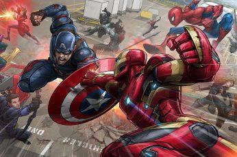 Marvel Avengers Civil War wallpaper, Iron Man, Captain America