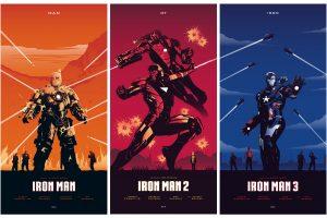 Marvel Comics Iron Man wallpaper 1, 2, and 3 illustration collage, movies