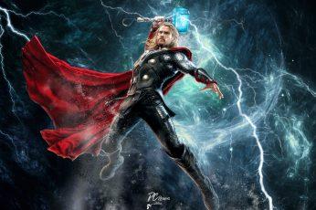 Marvel Thor digital wallpaper, Chris Hemsworth, Marvel Comics