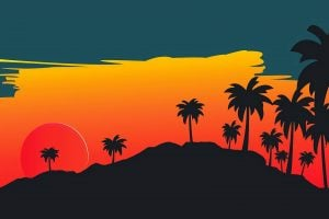 Silhouette of coconut trees painting wallpaper, digital art, landscape