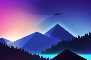 Minimalism wallpaper, minimal art, minimalist, airplane, pyramid mountain